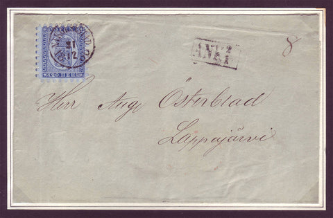 Old Finnish letter with blue Coat of Arms stamp from 1860 with all teeth intat!