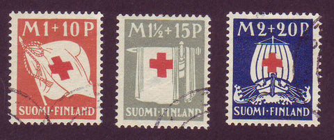 FIB002-04 Finland Scott # B2-4 VF VF used, Red Cross Symbols 1930