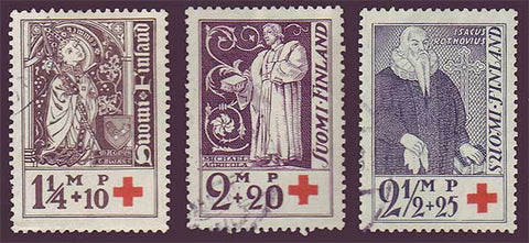 FIB012-145 Finland Scott # B12-14 VF used,  Bishops of Turku 1933