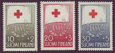 FIB145-472 Finland Scott # B145-47 VF MH, Red Cross Flag 1957