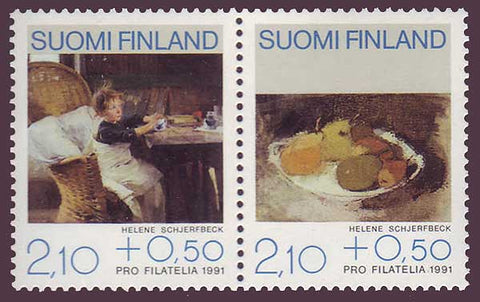 FIB2441 Finland Scott # B244 pair VF MNH, Paintings 1991