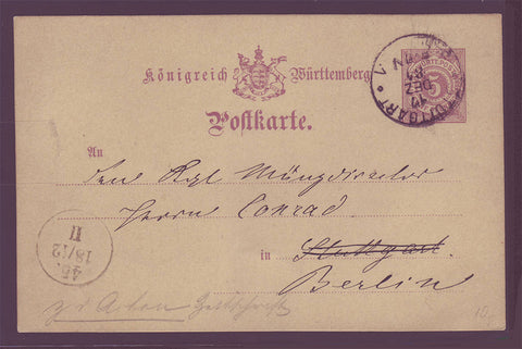 GE001 Germany, Wurttemberg Postal Stationery Card 1884