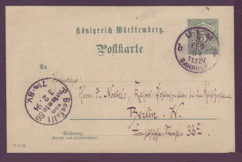GE002 Germany, Wurttemberg Postal Stationery Card 1884