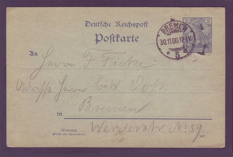 GE004 Germany Postal Stationery Card 1900