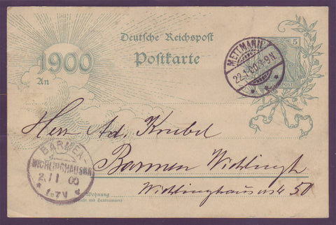 GE007 Germany Millenium Postal Stationery Card 1900