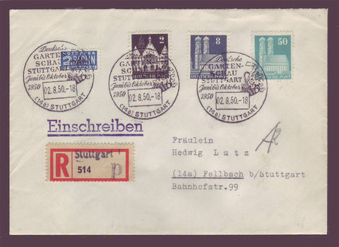 GE019 Germany,  Registered letter with Commemorative Cancel 1950