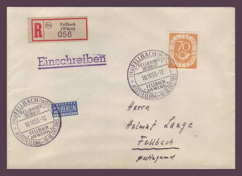 GE022 Germany,  Registered Commemorative Cover 1953