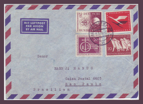GE024 Germany,  Air Mail Cover to Brazil 1955