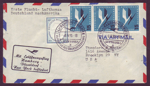 GE033 Germany, First Flight Cover, Hamburg to New York 1955