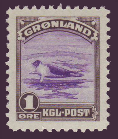 GR0010 Greenland Scott # 10 VF MNH,  1øre Harp Seal 1945