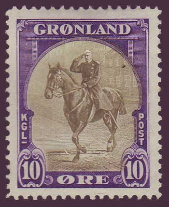 GR0013 Greenland Scott # 13 VF MH, 10øre Christian X 1945