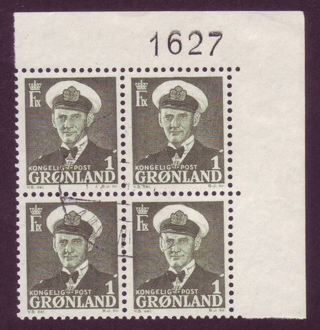 GR0028x4 Greenland  Scott # 28 used, Scarce Plate Block # 1627 Used
