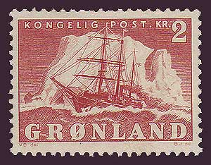 GR0037 Greenland Scott # 37 F-VF MH, 2kr Polar Ship