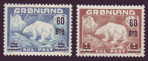 GR0039-401 Greenland Scott # 39-40 XF MNH, Polar Bears Overprinted 1956