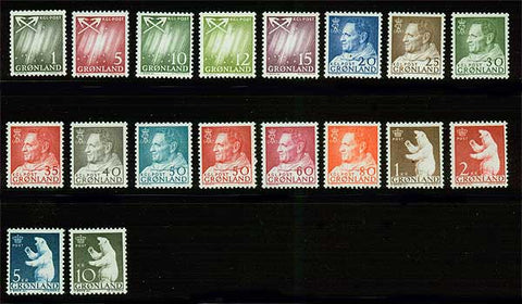 GR0048-651 Greenland Scott # 48-65 VF MNH, Definitive Series 1963-68