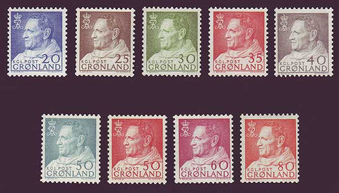 GR0053-611 Greenland Scott # 53-61 MNH, King Frederick IX Definitives 1963-68