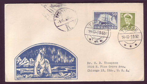 GR501.1 Greenland Letter to USA, Postmarked Thule 14.10.1952.
