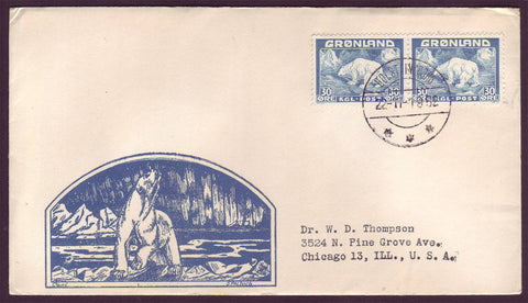 GR501.2 Greenland Letter to USA, Postmarked Holsteinsborg 22.11.1952.