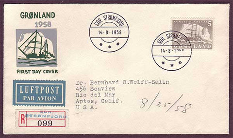 GR5025PH Greenland Registered First Day Cover to USA 1958