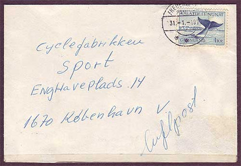 GR5027PH Greenland Cover to Denmark 1977