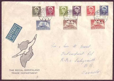 GR5034PH Greenland Large envelope to Canada 1958