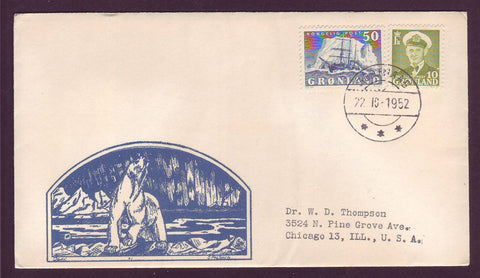 GR501.4 Greenland Letter to USA, Postmarked Gothaab 22.10.1952.