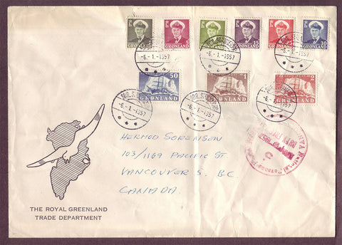 GR5044 Greenland Colorful set on  large cover to Canada