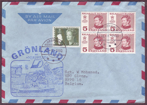 GR5045 Greenland Air mail letter to Belgium
