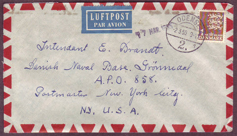GR5047 Greenland, Military mail from Denmark to Greenland 1955