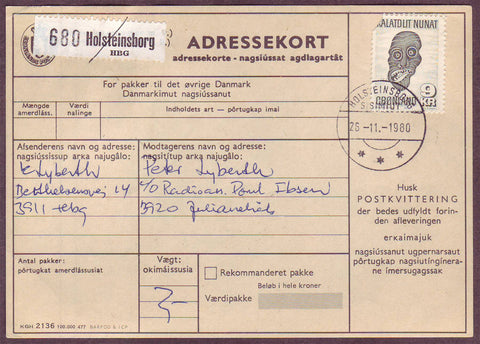 GR5051 Greenland Address card to accompany a parcel.