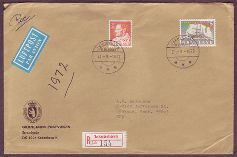 GR5054 Greenland Registered cover to USA 1972