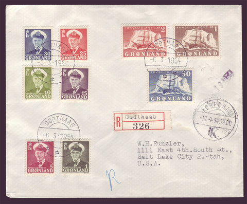 aGR5074 Greenland Registered Cover to USA 1954