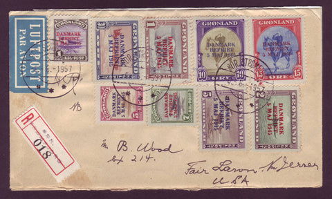 aGR5075 Greenland Cover, Complete Set American Issue 1945 Overprinted.