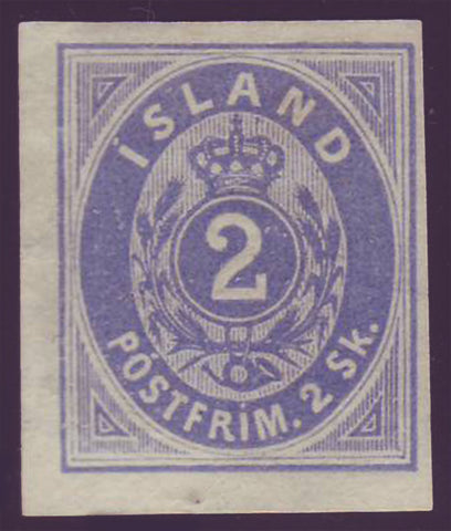 IC0001a2 Iceland Scott # 1a imperforate