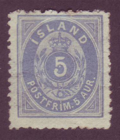 IC00082 Iceland Scott # 8 MH, scarce perf. 12.5 with certificate 1876