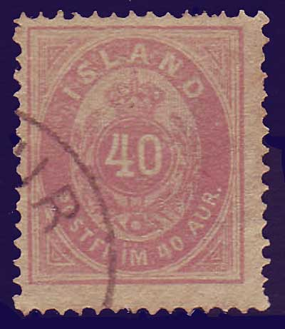 IC00185 Iceland Scott # 18 (brown lilac variety) used