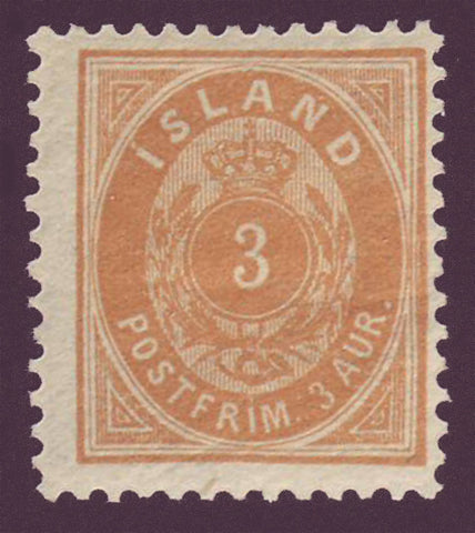 "IC00211 Iceland Scott # 21 (small ""3"")  MNH**"
