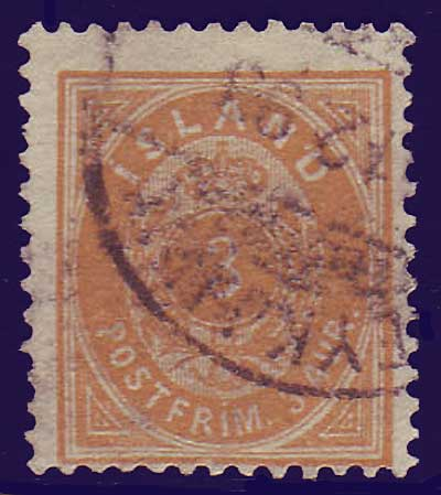 "IC00215 Iceland Scott # 21 (small ""3"")  used"
