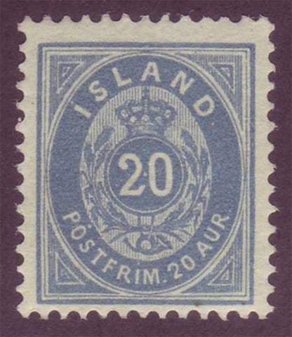 IC00281 Iceland Scott # 28 dull blue VF MNH 1896