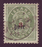 IC00315 Iceland Scott # 31 VF Used.  Large ''prir'' overprint with cert. 1897