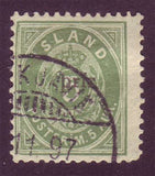 IC0033A5 Iceland Scott # 33A VF Used.  Small ''prir'' overprint with cert. 1897