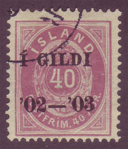 IC00585 Iceland Scott # 58 used 1902-03 overprint