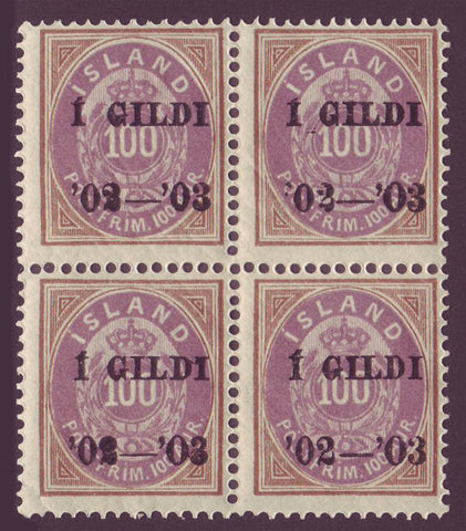IC0068x41 Iceland Scott # 68 block of 4 MNH* 1902-03 overprint