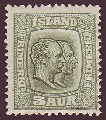 IC00742 Iceland Scott # 74 MH, Two Kings 1907
