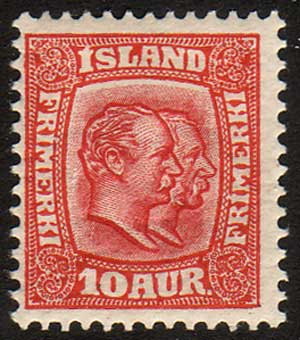 IC00762 Iceland Scott # 76 MH, Two Kings 1907