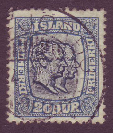 IC00795 Iceland Scott # 79 VF, Two Kings 1907