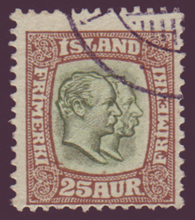 IC00805 Iceland Scott # 80 used, Two Kings 1907