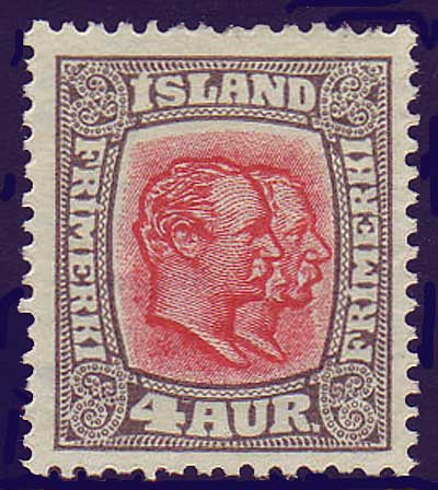 IC01012 Iceland Scott # 101 VF MH, Two Kings 1915