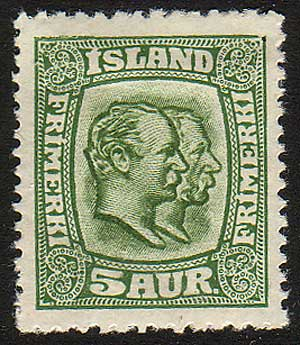IC01022 Iceland Scott # 102 MH, Two Kings 1915