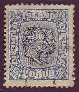 IC01075 Iceland Scott # 107 VF, Two Kings 1915